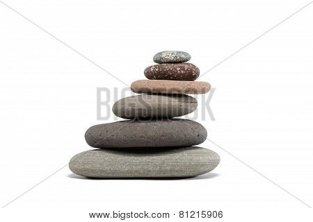 Slanting Stone Cairn Isolated On White