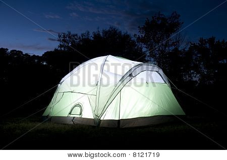 Glowing Tent at Night