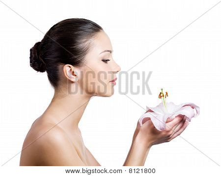 Woman With Flower In Profile