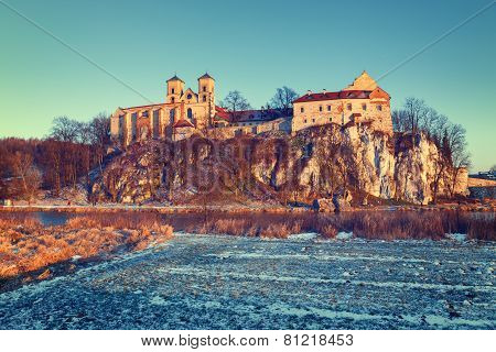 Benedictine Monastery In Tyniec Near Cracow, Poland. Vintage Color Tone