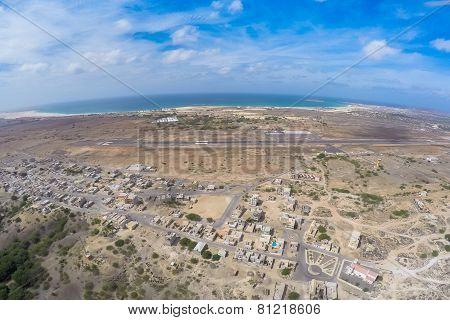 Aerial View -  Rabil City Near  Viana Desert, Boavista - Cape Verde
