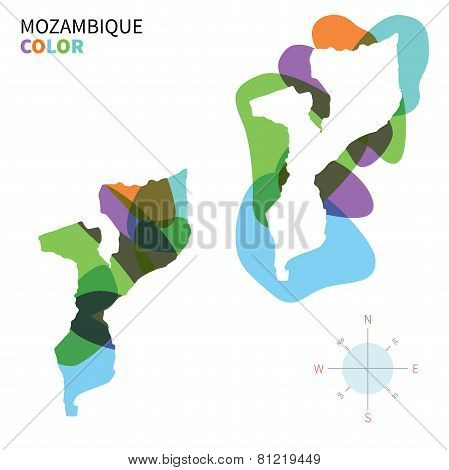 Abstract vector color map of Mozambique with transparent paint effect.