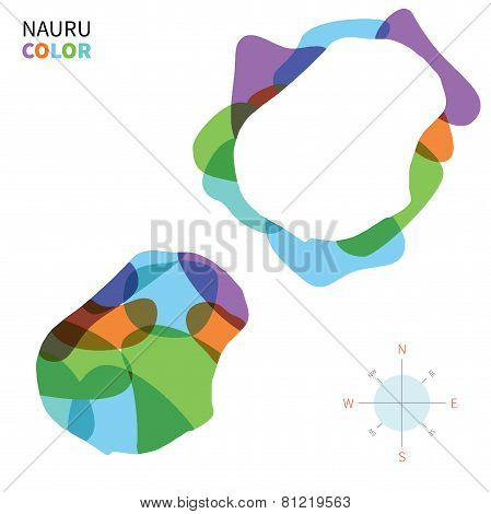 Abstract vector color map of Nauru with transparent paint effect.