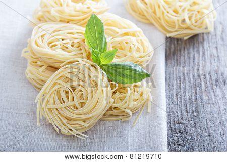 Dry pasta with fresh basil