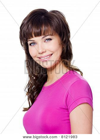 Brunette Woman With Cheerful Smile