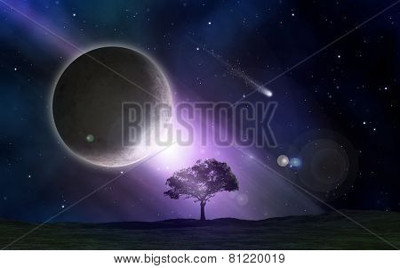 Abstract space scene with tree landscape and fictional planets