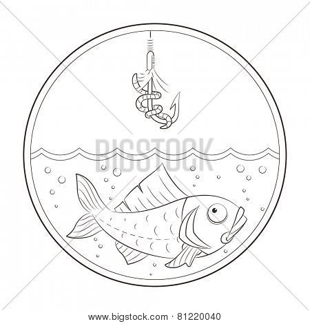 Fishing. Fish in water and fishhook. Vector illustration. Isolated on white background