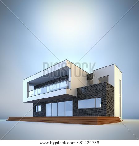 3d render illustration of template contemporary minimalist house at blue background. Empty copy space to place your text or logo.