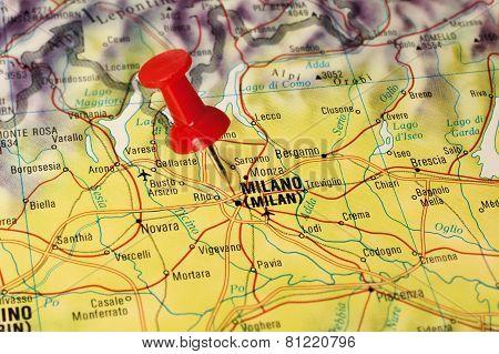 Milan on a map