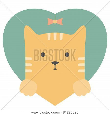 Animal set. Portrait of a red cat in love in flat graphics