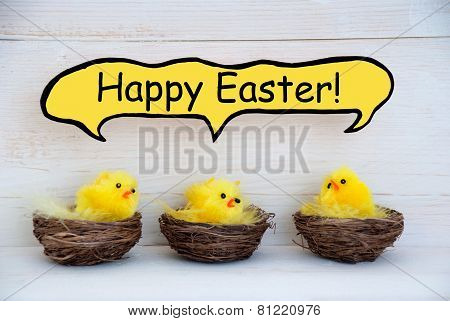 Three Chicks With Comic Speech Balloon Happy Easter