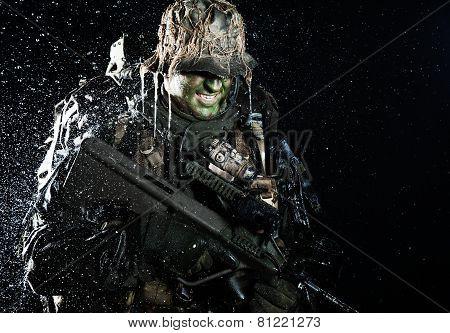 Jagdkommando in the rain