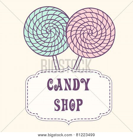Hand Drawn Lollipop With Label