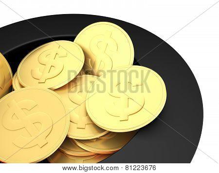 Gold Dollar Coins Close Up