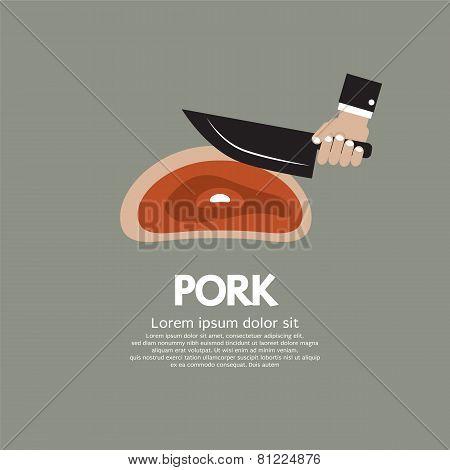 Hand Holding A Knife To Cut Pork Chop
