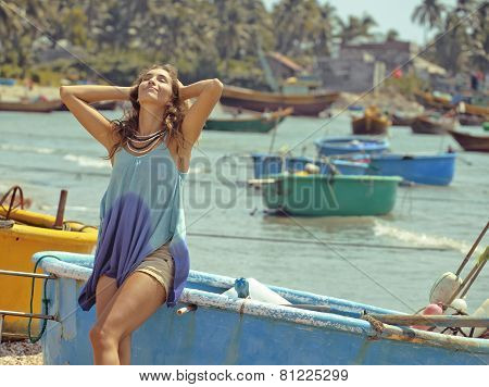 cute smiling young real woman in asian port, vietnam traveller