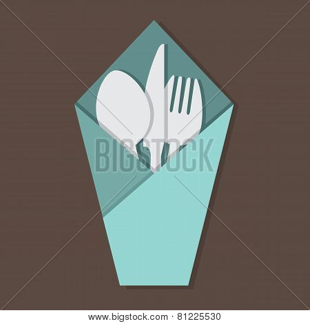 Knife Fork Spoon Set In Table Napkin