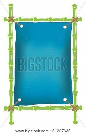 Blue Canvas On Bamboo Frame Vector Background Design
