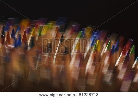 Rotating coloured pencils