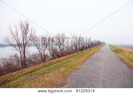Landscape with fog along the river Po, Italy