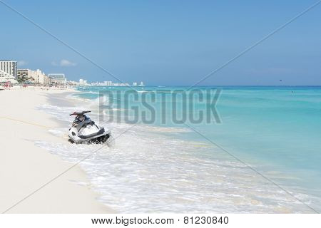 CANCUN - JANUARY 20: Jet ski on the beautiful beach on 20 January 2015 in Cancun, Mexico. This is one of the best beaches in the Mexico.