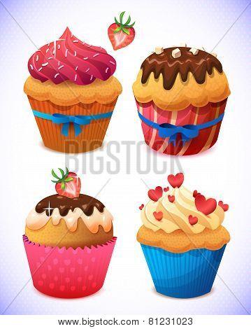 cupcake pack. Chocolate and vanilla icing cupcakes. Strawberry, cherry, cream