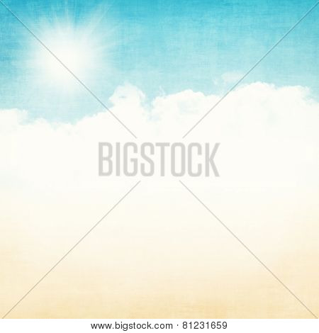 Grunge abstract summer background with blue sky and gold sand