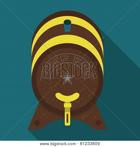 Abstract textured wooden beer keg with long shadow