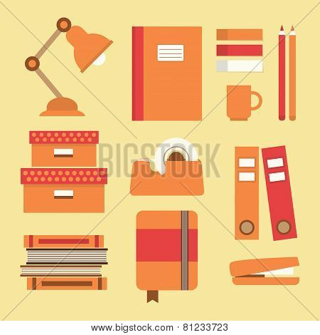 Office supplies and stationery icons set - Flat design