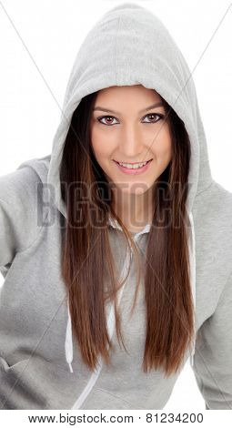 Happy hooded girl with grey sweatshirt isolated on a white background