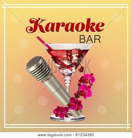 Silver microphone and cocktail on color background, Karaoke bar concept