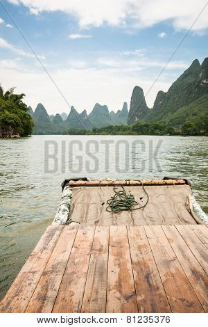 Bamboo rafting li river china