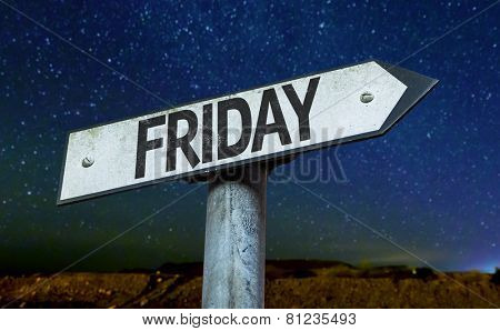 Friday sign with a beautiful night background