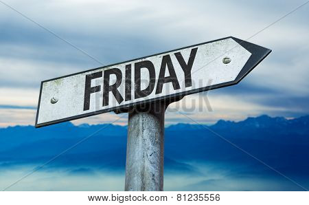 Friday sign with sky background