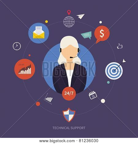 Technical support and data-clock protection flat illustration. Woman with icons.