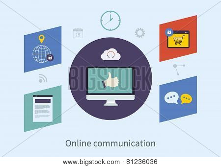 Set of flat design vector illustration concepts for online communication, purchasing product via int