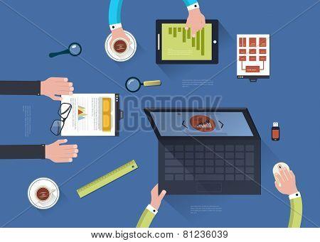 Concept of teamwork in flat design