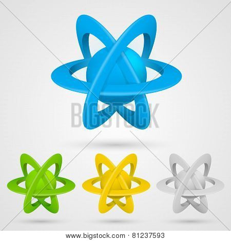 Atom set symbol on a white background