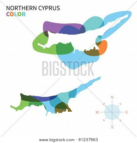 Abstract vector color map of Northern Cyprus with transparent paint effect.