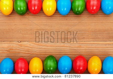 Easter Eggs Framing An Old Wooden Table Surface
