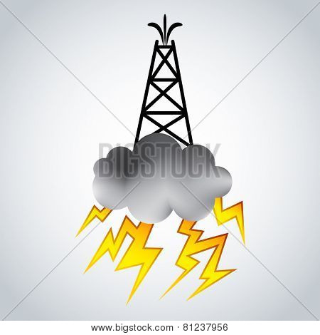 An image of a fracking rig with cloud and lightning.