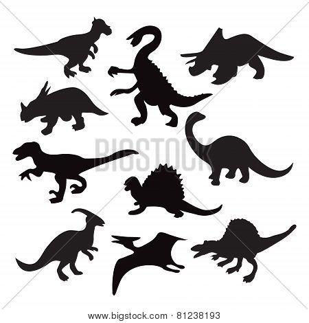 Different Dinosaur Silhouette