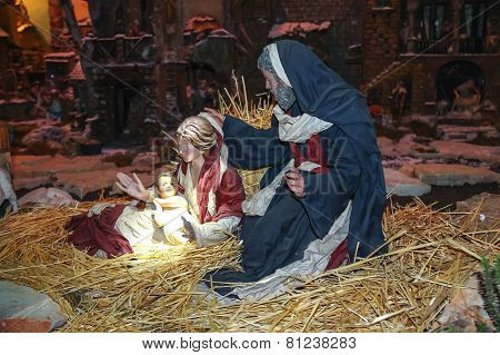 Christmas Scene, Jesus Christ, Mary And Josef