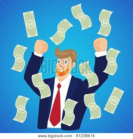 Falling Money In The Hands Of A Businessman On Blue Background