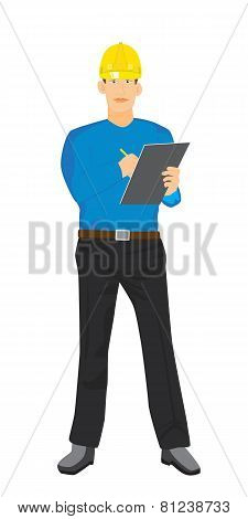Illustration Of Factory Quality Controller Checking With Clipboard Vector Isolated
