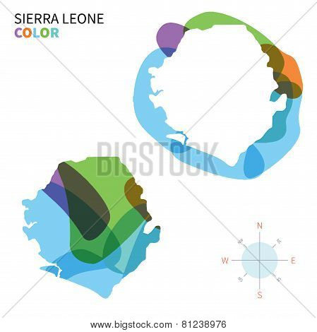 Abstract vector color map of Sierra Leone with transparent paint effect.