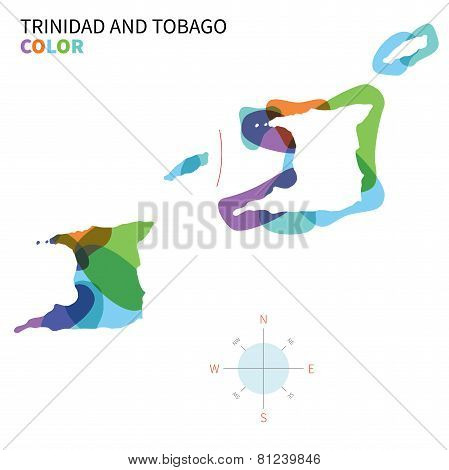 Abstract vector color map of Trinidad and Tobago with transparent paint effect.