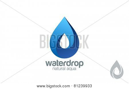 Logo Water drop abstract design vector template. Water drop Logotype. Infinity loop Aqua concept. Infinite looped shape droplet icon.