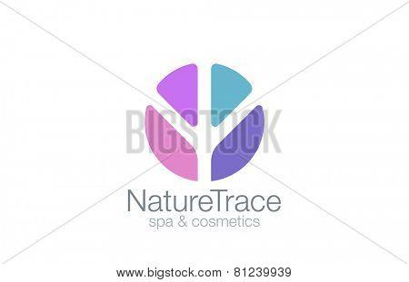 Abstract Circle Logo Trace design vector template. Nature Logotype concept icon.