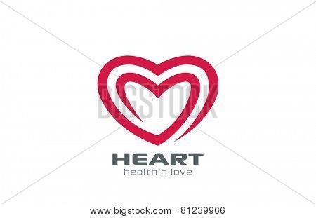 Logo Heart abstract shape vector design template. Two hearts Logotype. Valentine's Day Love symbol. Medicine Cardiology Donor Healthy concept icon.